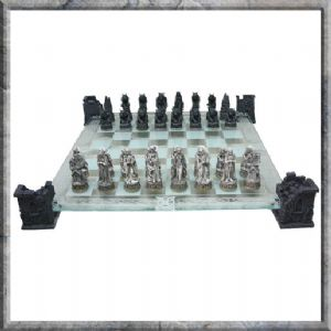 Chess Set-NEM5422-Vampire and Werewolf Glass Chess Set
